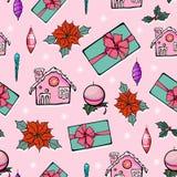 Дома пряника рождества праздника вектора розовые Стоковая Фотография RF