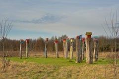 Дома птицы на поляках в заповеднике Gentbrugse Meersen, Генте, Бельгии Стоковое фото RF
