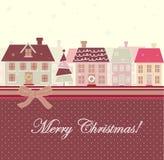 дома рождества карточки иллюстрация штока