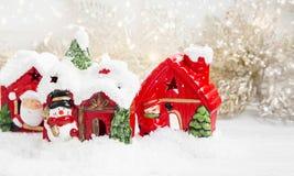 Дома рождества в снеге Стоковое фото RF