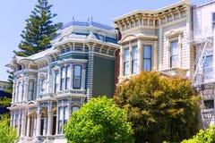 Дома Сан-Франциско викторианские в Pacific Heights Калифорнии Стоковое Фото