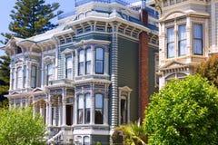 Дома Сан-Франциско викторианские в Pacific Heights Калифорнии Стоковое Изображение RF