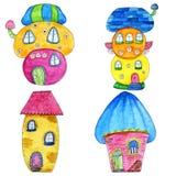 Дома сказки красочные милые в стиле шаржа Иллюстрация акварели нарисованная рукой Стоковые Фотографии RF