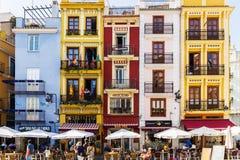 Дома старого городка красочные в Валенсии Стоковая Фотография RF