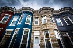 Дома строки в Hampden, Балтиморе, Мэриленде Стоковые Фотографии RF