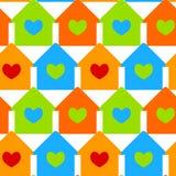 Дома с предпосылкой окон сердца безшовной Стоковая Фотография