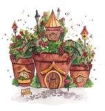 Дома фей с цветками Стоковая Фотография RF