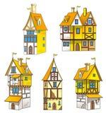 Дома шаржа средневековые иллюстрация штока