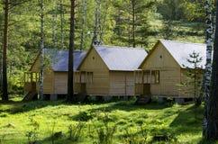 Дома для туристов от дерева в древесине в лете Стоковое Изображение RF