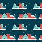Дома Christma на картине зимы безшовной иллюстрация вектора