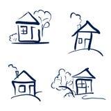 Дома Doodle нарисованные рукой Эскиз вектора карандаша Синие дома Стоковые Фото