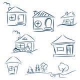 Дома Doodle нарисованные рукой Эскиз вектора карандаша Синие дома Стоковое Изображение RF