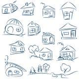 Дома Doodle нарисованные рукой Эскиз вектора карандаша Синие дома Стоковое Фото
