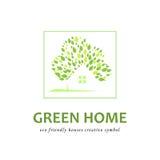 Дома Eco дружелюбные зеленые иллюстрация вектора