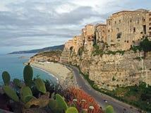 Дома Tropea Калабрии Италии на береге моря стоковое изображение rf