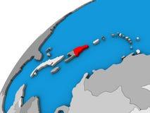 Доминиканская Республика на глобусе 3D иллюстрация вектора