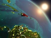 Доминиканская Республика от космоса во время восхода солнца Стоковая Фотография RF
