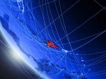 Доминиканская Республика от космоса с сетью иллюстрация вектора