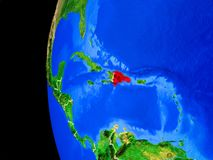 Доминиканская Республика от космоса иллюстрация вектора