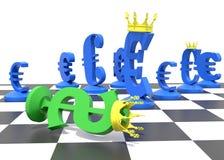 Доминирование символа евро над символом доллара Стоковая Фотография