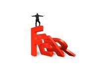 Домино бизнесмена балансируя красный падать слова страха Стоковое фото RF