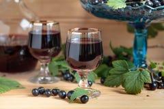Домодельная настойка черной смородины и свежие ягоды стоковые фотографии rf