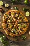 Домодельная пряная мексиканская пицца тако стоковые фото