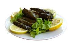 Домодельное блюдо dolmadakia Оно родной к кухне тахты и стоковое изображение