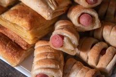 Домодельное печенье слойки с wienerwurst стоковое фото