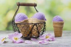 Домодельное фиолетовое мороженое ube стоковое фото rf