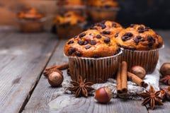 Домодельные булочки обломока шоколада для завтрака Стоковое Изображение RF