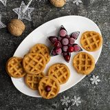 Домодельные мягкие waffles для завтрака с замороженными ягодами органических северных клюкв на белом овальном керамическом блюде  Стоковое Изображение