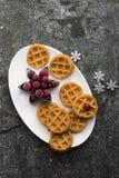 Домодельные мягкие waffles для завтрака с замороженными ягодами органических северных клюкв на белом овальном керамическом блюде  Стоковые Изображения RF
