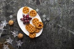Домодельные мягкие waffles для завтрака с замороженными ягодами органических северных клюкв на белом овальном керамическом блюде  Стоковая Фотография
