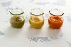 Домодельные овощ младенца и пюре плодоовощ Стоковая Фотография RF