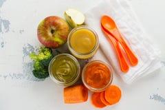 Домодельные овощ младенца и пюре плодоовощ Стоковое Изображение