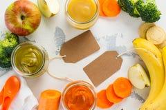 Домодельные овощ младенца и пюре плодоовощ Стоковое фото RF
