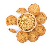 Домодельные овсяная каша и печенья на белой предпосылке Стоковое фото RF