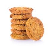 Домодельные печенья овсяной каши на белой предпосылке Стоковое фото RF