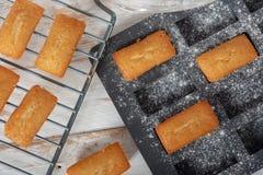 Домодельные торты финансиста, французское печенье стоковые фотографии rf