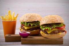 Домодельные cheeseburgers и фраи с sause томата Стоковые Фото