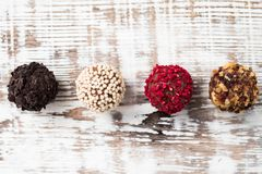 Домодельные pralines шоколада Домодельный трюфель шоколада Стоковое Изображение