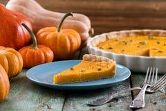 Домодельный очень вкусный пирог тыквы с семенами тыквы на голубой плите Стоковые Фотографии RF