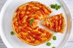 Домодельный пирог абрикоса на белом диске Стоковое Изображение RF