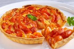 Домодельный пирог абрикоса на белом диске Стоковые Фото