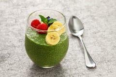 Домодельный пудинг семени chia зеленого чая matcha Стоковая Фотография RF