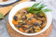 Домодельный суп гриба с champignons в плите Стоковые Изображения RF