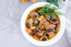 Домодельный суп гриба с champignons и свежими травами стоковые изображения rf