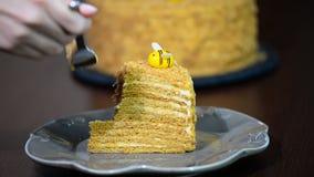 Домодельный торт меда на белом деревянном столе Девушка есть торт меда сток-видео