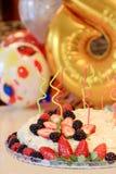 Домодельный торт napoleon украшенный с ягодами Стоковые Изображения